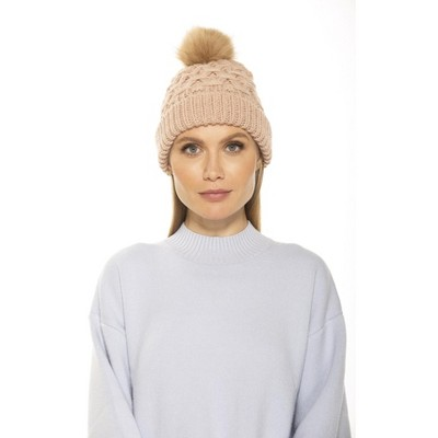 Alexia Admor Amanda Cable Knit Beanie With Pom