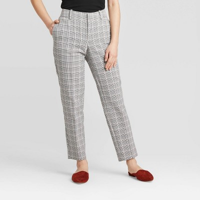 Women's Plaid Mid-Rise Slim Ankle Pants - A New Day™ Gray 0