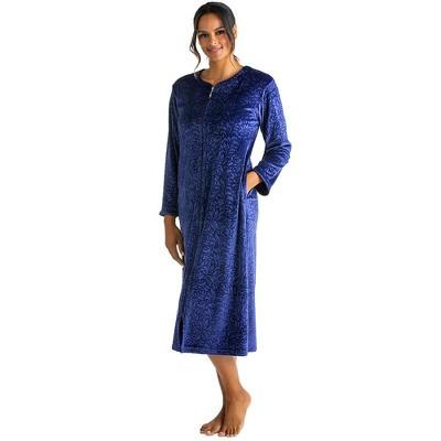 Softies Women's Floral Embossed Serenity Zip Robe