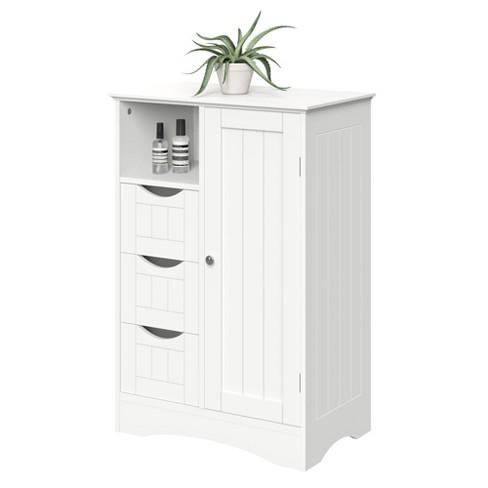 Ashland One Door Floor Cabinet White, Floor Bathroom Cabinet White