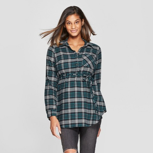 deccdf77bad8d Maternity Long Sleeve Plaid Flannel Popover Tunic - Isabel Maternity by  Ingrid & Isabel™ Green