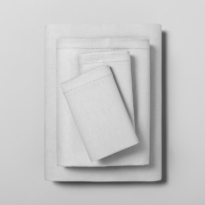 Queen Linen Blend with Hem Stitch Sheet Set Jet Gray - Hearth & Hand™ with Magnolia