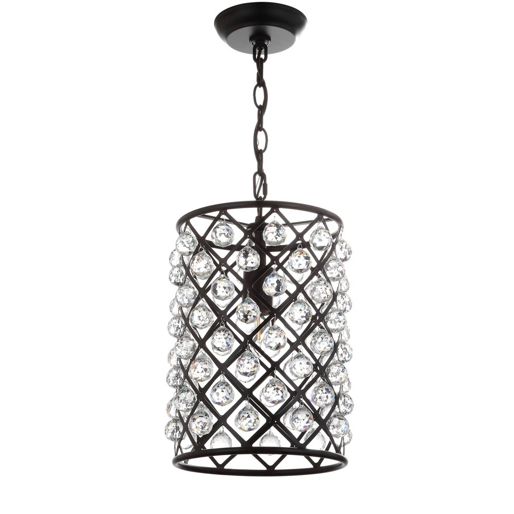 "Image of ""10"""" Gabrielle Crystal/Metal LED Pendant Black (Includes Energy Efficient Light Bulb) - JONATHAN Y, Size: 15 Inch"""