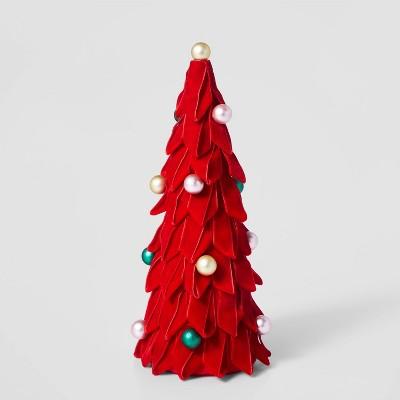 13in Velvet Christmas Tree Decorative Figurine Set Red - Wondershop™