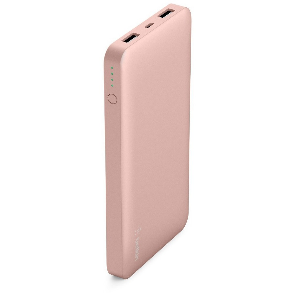 Belkin 10K mAh Pocket Power Portable Power Bank - Rose (Pink) Gold Stay charged anywhere with this slim and lightweight power bank that fits in your pocket or bag. 10,000 mAh recharges a smartphone up to 3 times. A universal Usb-A 2.4 amp port delivers up to 5V to quickly and safely charge devices like smartwatches, fitness bands, headphones, speakers, action cameras, and Bluetooth-enabled devices. A 5V 2.0 amp input allows the power bank to recharge quickly between uses. 10,000 mAh can recharge a smartphone up to 3 times over, providing an additional 25 hours of call time or 21 hours of web browsing (charges iPhone 7 (running iOS10) up to 3 times on a single charge in internal testing). 2 universal Usb-A ports deliver 5V 2.4 amp output so you can charge your devices in no time, just use the cable provided to begin charging. Recharge between uses quickly with 5V 2.0 amp input via a micro-Usb port. Simply connect to a wall charger or other power supply using the Micro-Usb cable provided to recharge your power bank. Color: Rose.