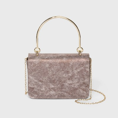 Estee & Lilly Snap Closure Shimmer Snake Skin Box Clutch with Handle - Taupe
