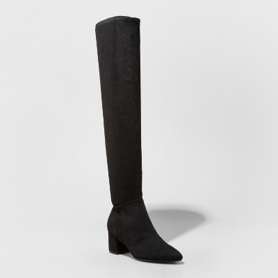 Women's Navaih Pointed Toe Over The Knee Fashion Boots - A New Day™ Black 8.5