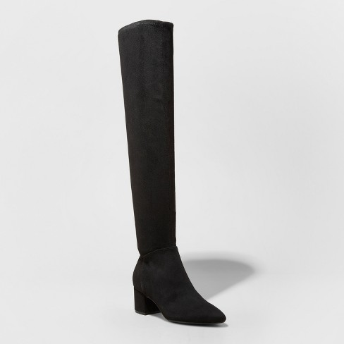 Women's Naveah Pointed Toe Over The Knee Fashion Boots - A New Day™ Black - image 1 of 3