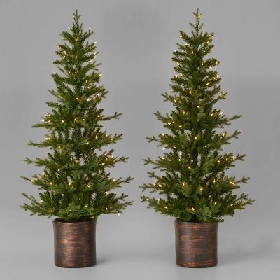5ft/2pk Pre-Lit Balsam Fir Potted Artificial Christmas Tree Clear Lights - Wondershop™