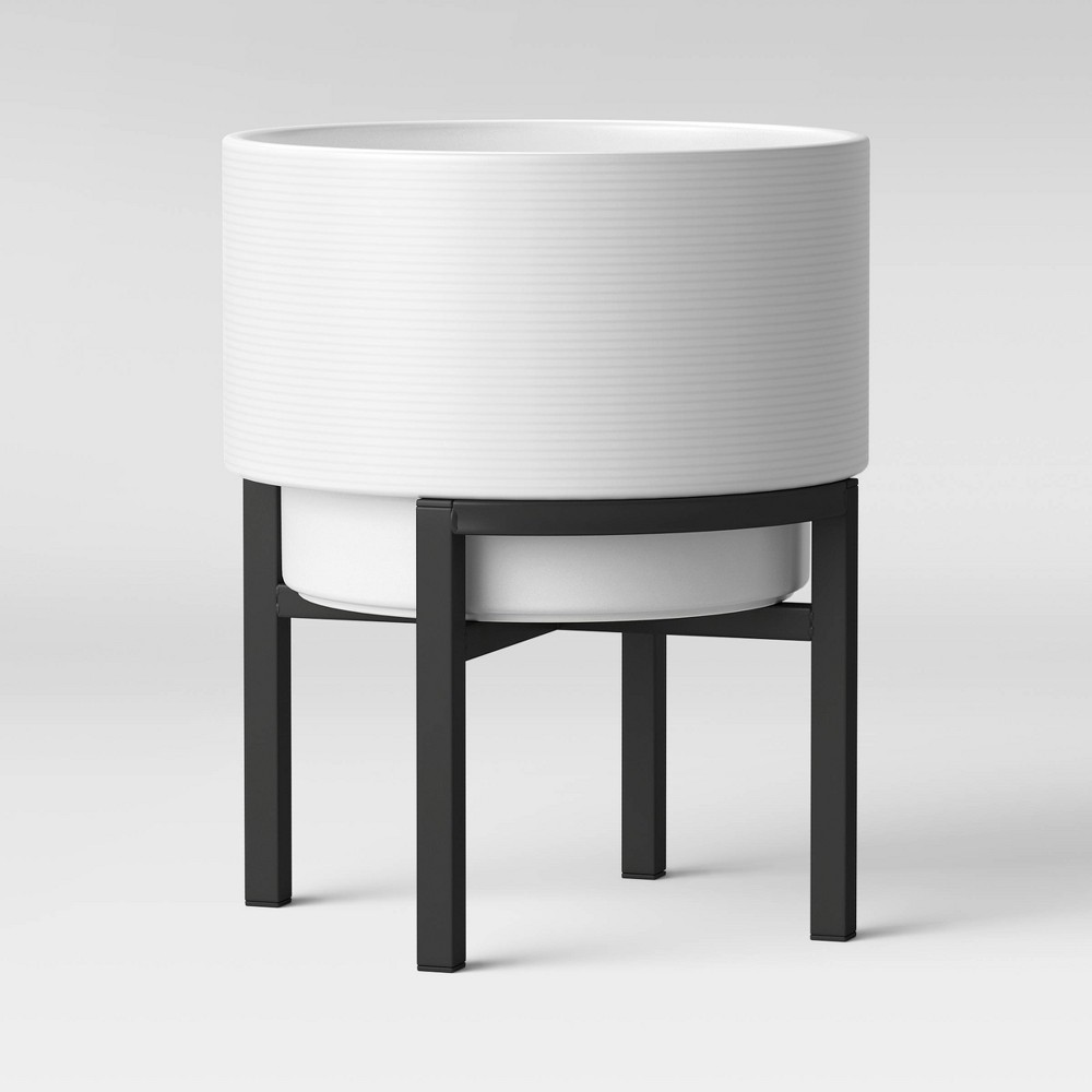 "Image of ""13"""" Ceramic Planter With Stand White & Black - Project 62"""