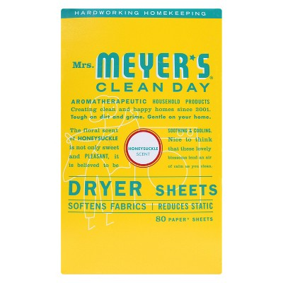 Mrs. Meyer's Clean Day Dryer Sheets, Honeysuckle, 80ct