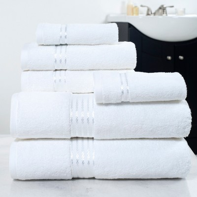 6pc 100% Cotton Hotel and Reversible Bath Towels Sets White Yorkshire Home