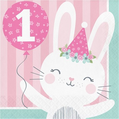 48ct Bunny Print 1st Birthday Disposable Napkins