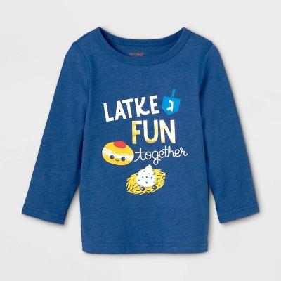 Toddler Boys' Adaptive Hanukkah Long Sleeve Graphic T-Shirt - Cat & Jack™ Blue