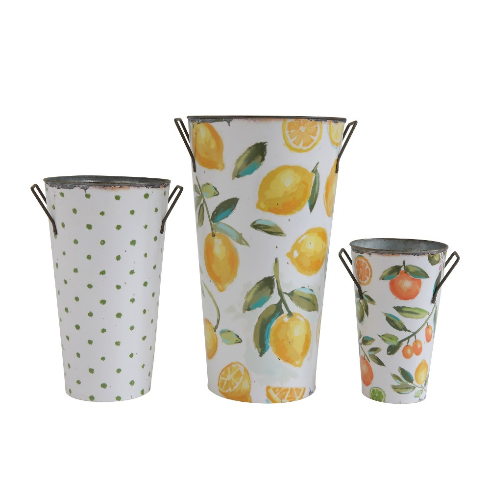 Image of Decorative Bucket Set of 3 - Fruit / Dot Print - 3R Studios, White Yellow Green