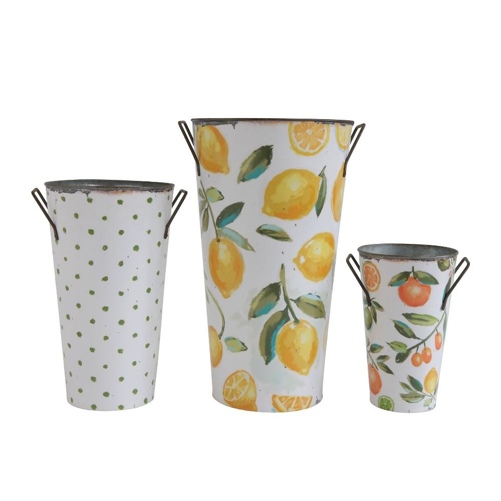 Image of Decorative Bucket Set of 3 - Fruit / Dot Print - 3R Studios