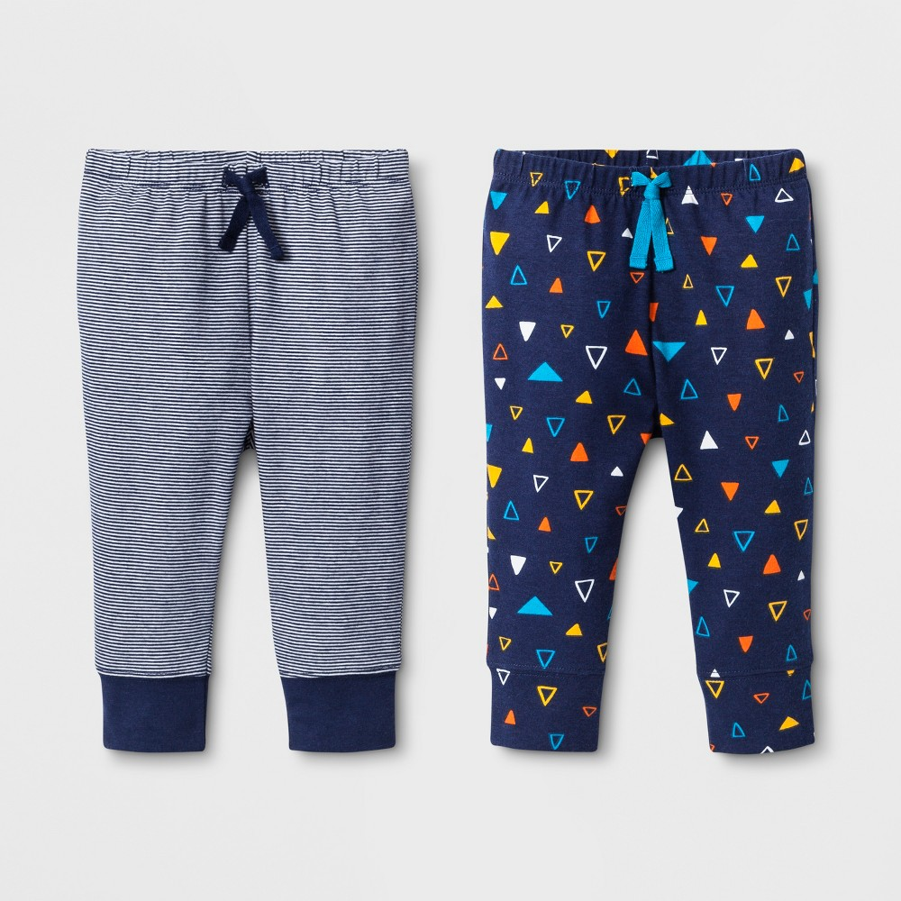 Baby Boys' 2pk Jogger Pants one pair with Stripes and one pair with Triangle Print - Cat & Jack Navy 0-3M, Blue