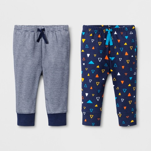 Baby Boys' 2pk Jogger Pants one pair with Stripes and one pair with Triangle Print - Cat & Jack™ Navy - image 1 of 1