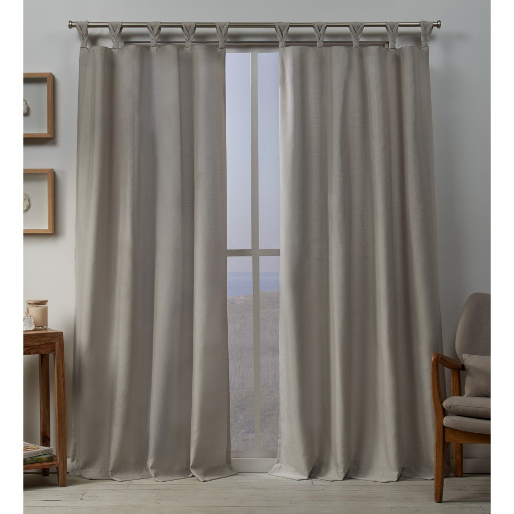 Set Of 2 84 34 X54 34 Loha Linen Braided Tab Top Window Curtain Panel Beige Exclusive Home