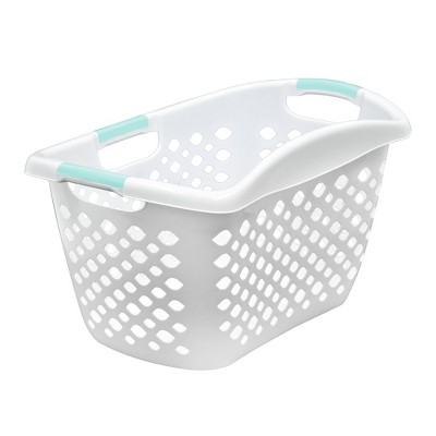 Hip Hugger 1.8 Bushel Laundry Basket White With Turquoise Handles - Room Essentials™