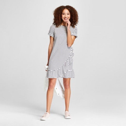 7b9bc245177 Women s Striped Short Sleeve Asymmetrical Ruffle Hem T-Shirt Dress - A New  Day™ White Black