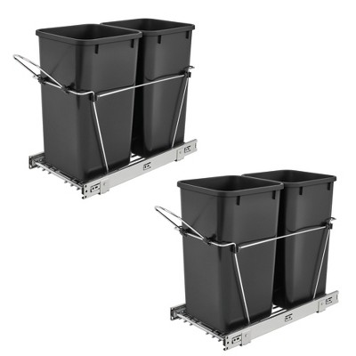 Rev A Shelf Double 27 Quart Sliding Pull Out Waste Bin Container (2 Pack)