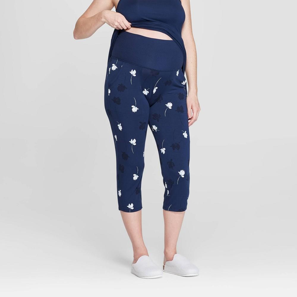 Women's Floral Print Beautifully Soft Crop Postpartum Pajama Pants - Stars Above Navy (Blue) XS