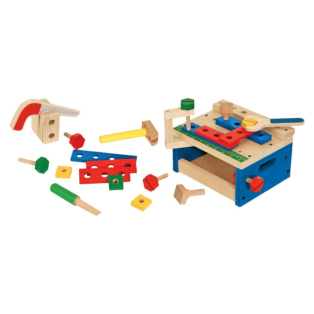 Melissa & Doug Hammer and Saw Tool Bench - Wooden Building Set (32pc)