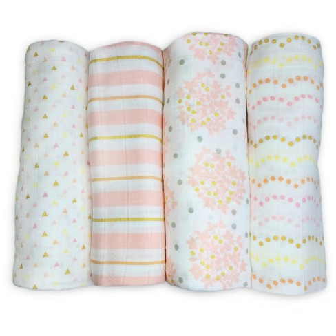 SwaddleDesigns Cotton Muslin Swaddle Blankets - Heavenly Floral Shimmer - 4pk - Pink - image 1 of 4