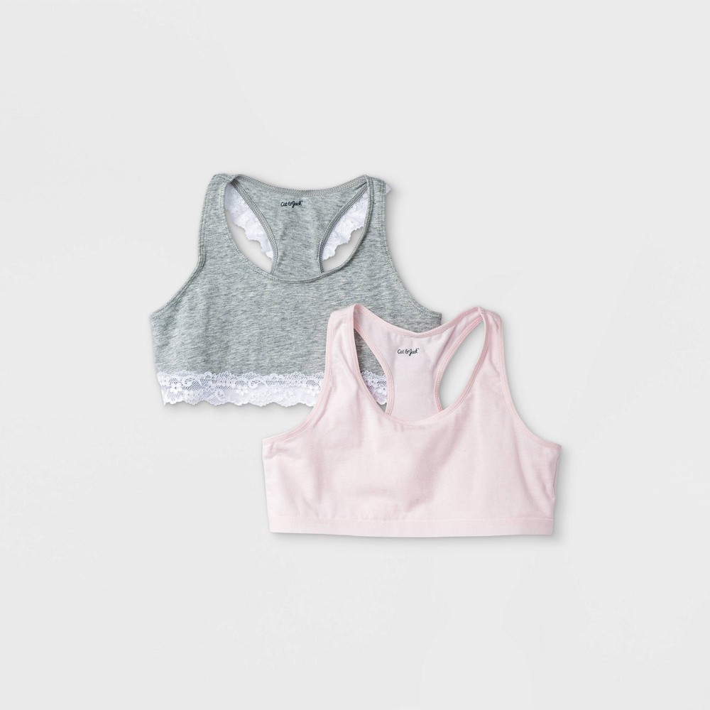 Girls 39 2pk Cotton Sports Bra With Lace Cat 38 Jack 8482 Gray Pink L