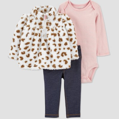 Baby Girls' 3pc Cheetah Sherpa Top & Bottom Set - Just One You® made by carter's Tan 9M