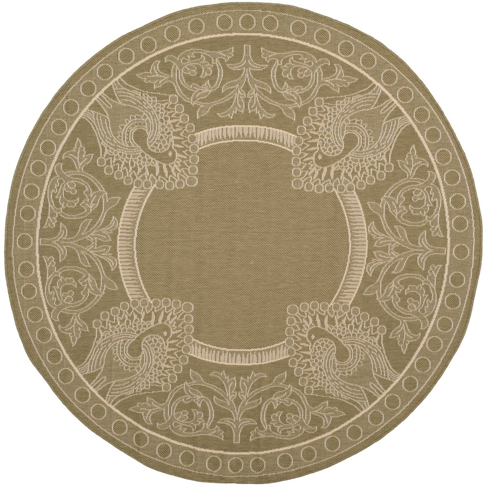 Bradford Round 7'10 Outdoor Rug Olive/Natural (Green/Natural) - Safavieh