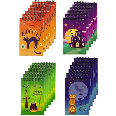Paper Junkie 24-Pack Halloween Top Spiral Notepad Bulk for Kids, Lined Paper, 4 Designs (2.75 x 4.25 In)