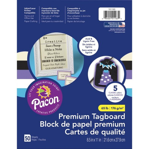 Pacon Premium Tagboard, 8-1/2 x 11 Inches, Classic Assortment, 50 Sheets - image 1 of 4