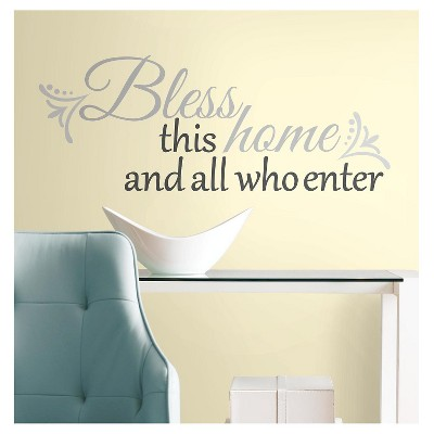 25 BLESS THIS HOME Peel and Stick Giant Wall Decals Gray - ROOMMATES