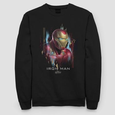 Women's Iron Man Portrait Fleece Sweatshirt (Juniors') - Black