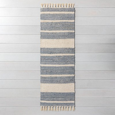 "2'4"" x 7"" Jute Stripe with Tassel Fringe Runner Gray - Hearth & Hand™ with Magnolia"