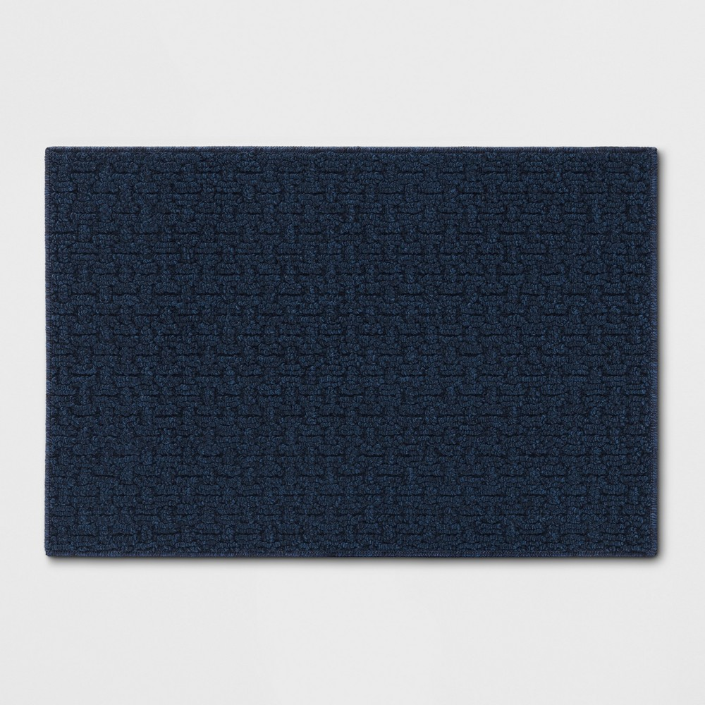Solid Washable Accent Rug Blue