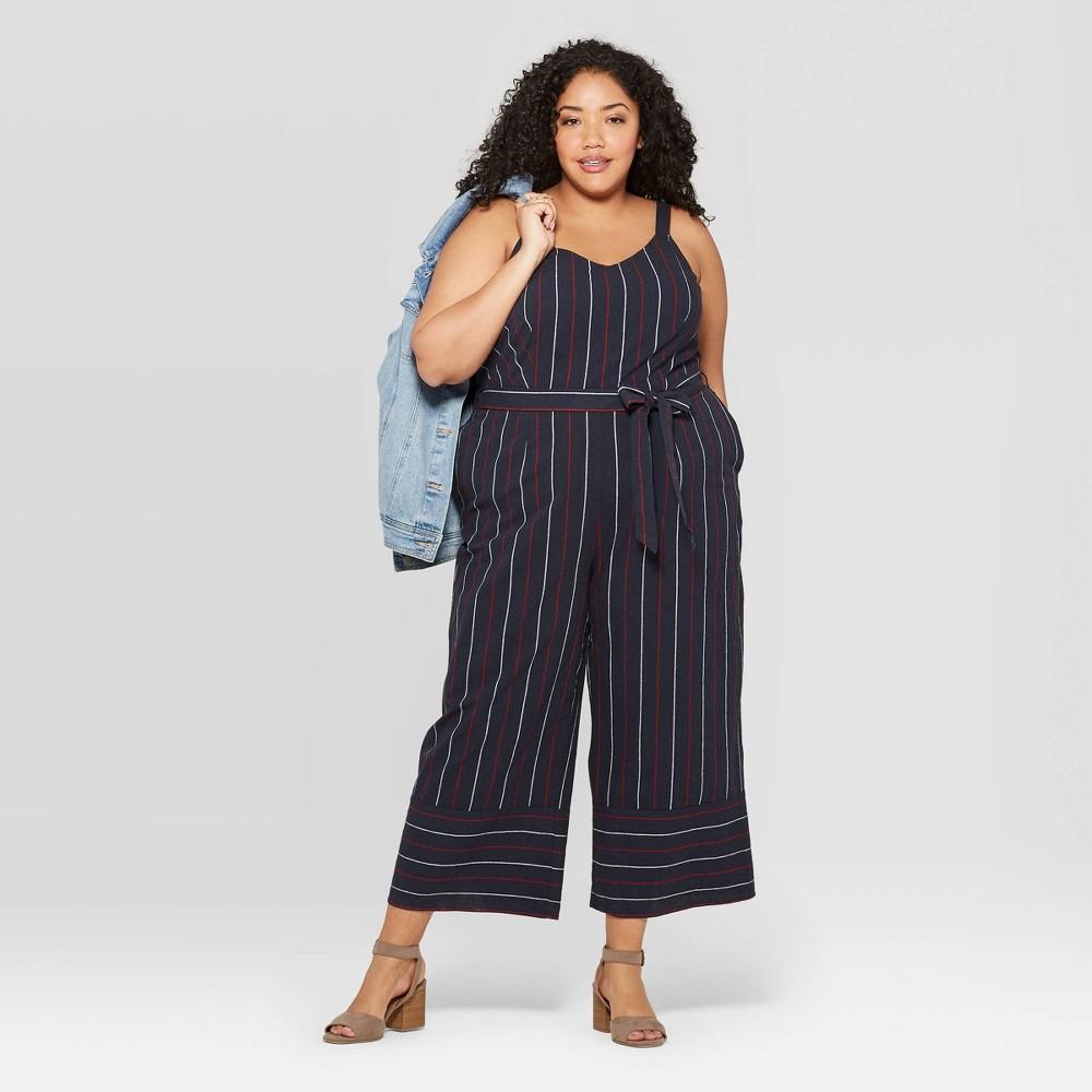 0c3e6ddf5464 Womens Plus Size Americana Striped Sleeveless V Neck Jumpsuit Universal  Thread Navy 2X Blue