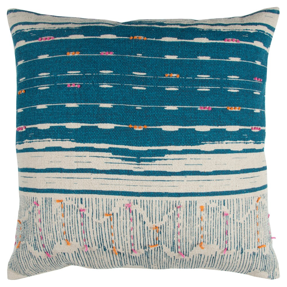 Image of Blue Stripe Throw Pillow - Rizzy Home