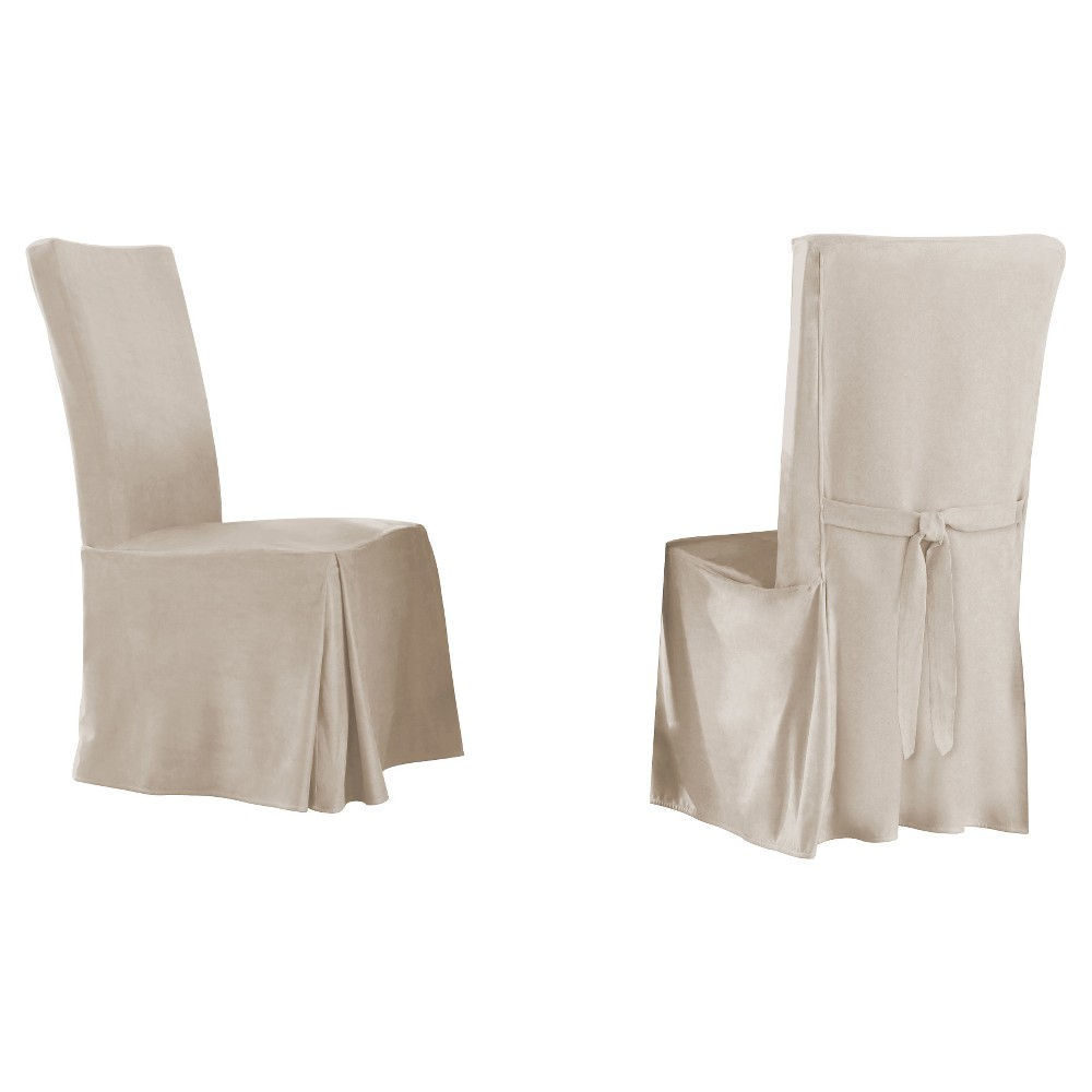 Image of 2pk Ivory Relaxed Fit Smooth Suede Furniture Dining Chair Slipcover - Serta