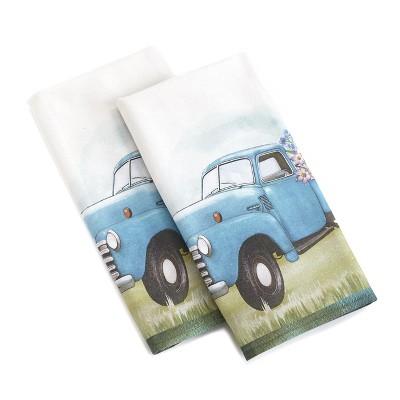 Lakeside Vintage Truck Hand Towels for Bathroom and Kitchen - Cotton, Set of 2