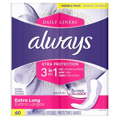 Always Daily Liners With Xtra Protection 3 In 1 Extra Long - 60ct : Target