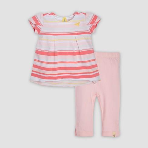 a3f9e7b964cf4 Burt's Bees Baby® Baby Girls' Organic Cotton Multi Stripe Tunic & Capri Leggings  Set - Blossom : Target
