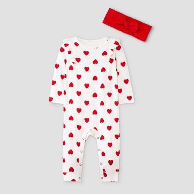Baby Girls' Heart Rib Romper with Headband - Cat & Jack™ White/Red 3-6M