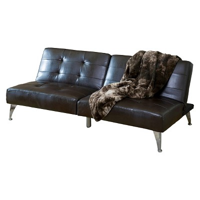 Alston ClickClack Oversized Convertible Leather Sofa Couch Brown/Black    Christopher Knight Home