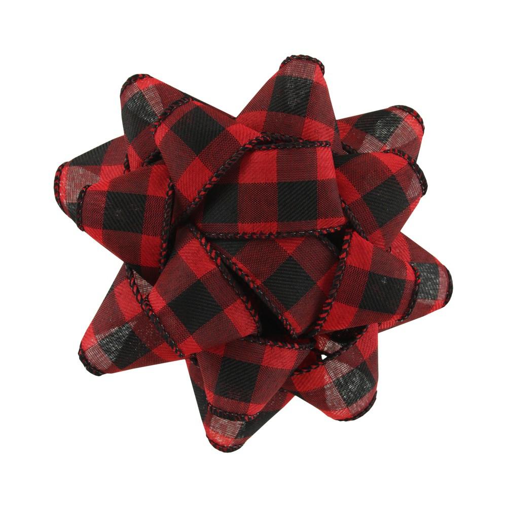 Red/Black Buffalo Plaid Fabric Gift Bow - Wondershop