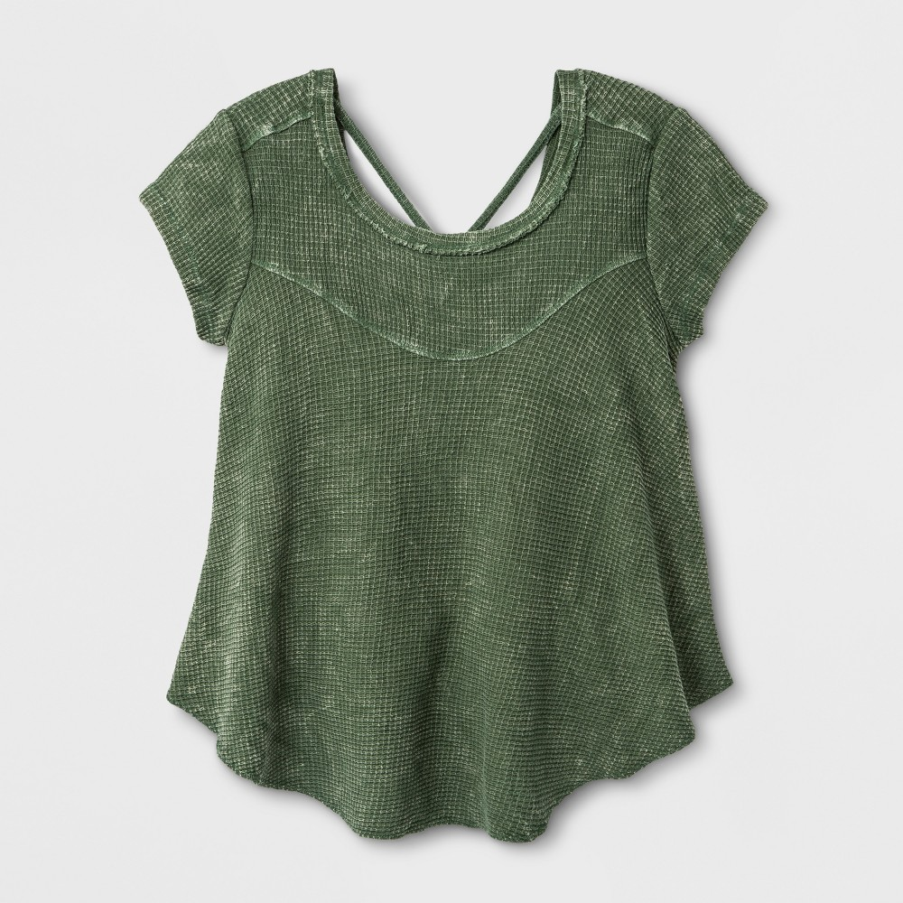 Girls' Short Sleeve Waffle Knit Shirt - art class Olive L, Green