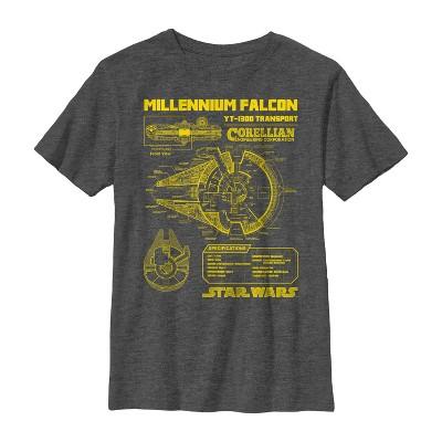 Boy's Star Wars Millennium Falcon Schematics T-Shirt