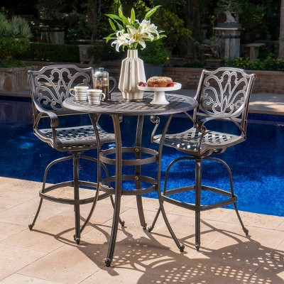 Alfresco 3pc Cast Aluminum Patio Bar Set Bronze - Christopher Knight Home